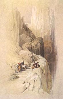Подъем на вершину горы Синай. Рисунок Д.Робертса XIX в.