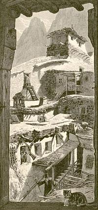 Монастырь св. Екатерины. Вид из северо-восточных галерей. Рисунок Ф.Гарри. Конец XIX в.